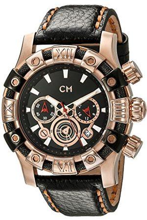 Carlo Monti Arezzo męski zegarek kwarcowy z czarną tarczą chronografem i czarnym skórzanym paskiem CM122-322