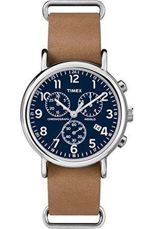 Timex Męski chronograf kwarcowy zegarek ze skórzanym paskiem Taśma Tan Slip-thru