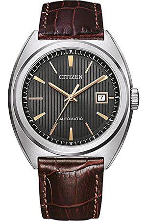 Citizen Męski analogowy automatyczny zegarek ze skórzanym paskiem NJ0100-03H