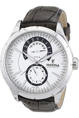 Festina Męski zegarek analogowy F16573/2 ze skórzanym paskiem i srebrną tarczą