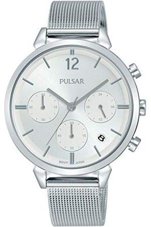 Pulsar Kwarcowy zegarek damski chronograf stal szlachetna z metalowym paskiem kwarcowy. srebro