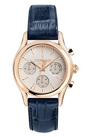 Trussardi Męski Multi tarcza kwarcowy zegarek ze skórzanym paskiem R2451127001
