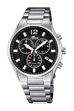 Lotus Mężczyzna Zegarki - Męski zegarek kwarcowy z czarnym wyświetlaczem i srebrną bransoletką ze stali nierdzewnej 10125/4
