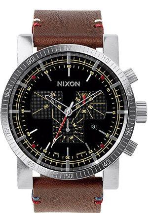 Nixon Mężczyzna Zegarki - Męski zegarek na rękę Magnacon Leather II Black/Brown analogowy kwarcowy skóra A458019-00