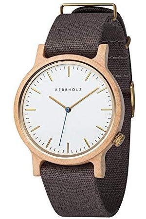 Kerbholz Unisex dla dorosłych, analogowy zegarek kwarcowy ze skórzanym paskiem bransoletka Maple Dark Grey