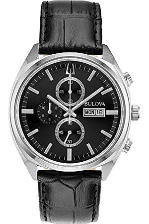 BULOVA Męski chronograf kwarcowy zegarek ze skórzanym paskiem 96C133