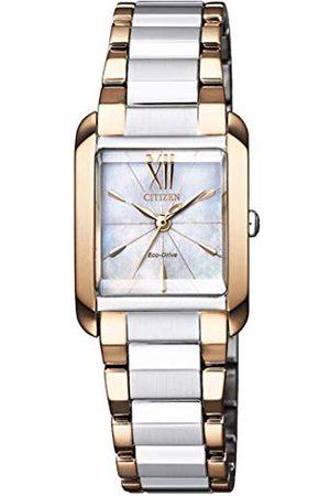 Citizen Kobieta Zegarki - Damski analogowy zegarek Eco-Drive z bransoletką ze stali szlachetnej EW556-87D