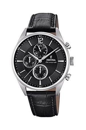 Festina Mężczyzna Zegarki - Męski zegarek kwarcowy z chronografem ze skórzanym paskiem F20286/4