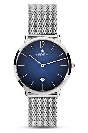 Michel Herbelin Męski analogowy zegarek kwarcowy z bransoletką ze stali szlachetnej 19515/15B