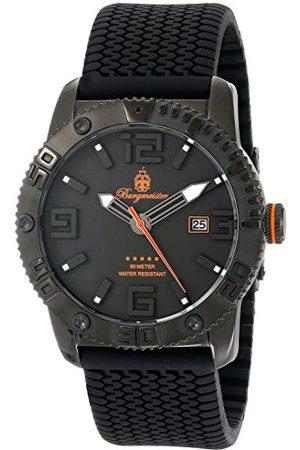 Burgmeister Męski zegarek kwarcowy z czarnym wyświetlaczem analogowym i czarnym silikonowym paskiem BM522-622B