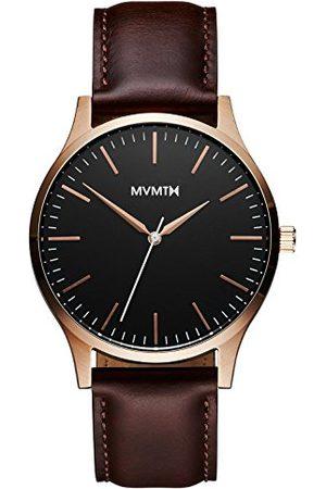 MVMT Męski analogowy zegarek kwarcowy ze skórzanym paskiem ze skóry cielęcej D-MT01-BLBR