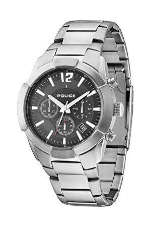 Police Sincere męski zegarek kwarcowy z czarnym wyświetlaczem chronografu i srebrną bransoletką ze stali nierdzewnej 13668JS/02M