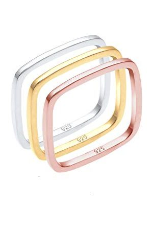Elli 0602451216 zestaw pierścionków damskich Tri Color Statement czworokątny, pozłacane, srebro 925 e srebro pozłacane, 52 (16,6), colore: srebro, cod. 0602451216_52