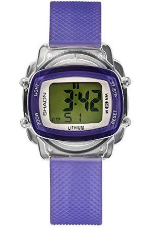 Shaon Mens Watch Purple Plastic Band Digital Display
