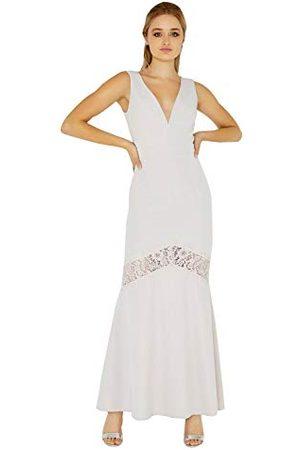 Little Mistress Damska sukienka z abbie liliowy plunge maxi z koronkową wkładką