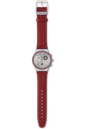 Swatch Mężczyzna Zegarki - Męski zegarek z wywierconą srebrną tarczą skórzany pasek