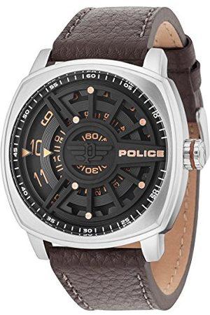 Police Mężczyzna Zegarki - Męski analogowy zegarek kwarcowy ze skórzanym paskiem PL15239JS.02