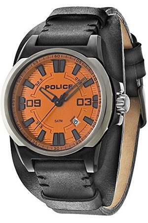 Police Męski zegarek kwarcowy z pomarańczowym wyświetlaczem analogowym i czarnym skórzanym paskiem 14200JSBU/17