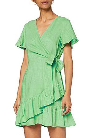 Glamorous Czarująca damska sukienka o wiosennym zielonym wyglądzie lnu