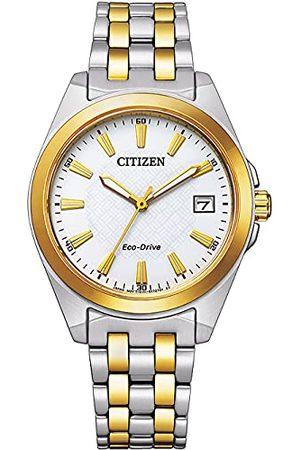 Citizen Damski analogowy Eco-Drive zegarek na rękę z bransoletką ze stali szlachetnej bransoletka wielokolorowa