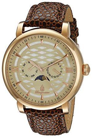 Burgmeister Męski zegarek kwarcowy z beżową tarczą analogową i brązową bransoletką ze skóry BM217-395