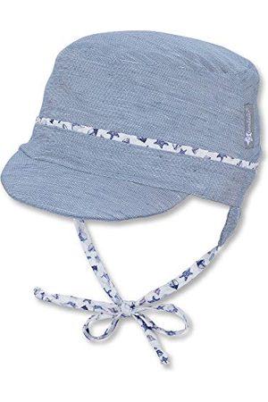 Sterntaler Chłopięcy czapka z daszkiem z tasiemkami do wiązania i nausznikami, niebieska