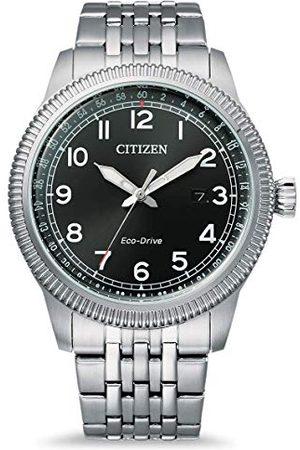 Citizen Męski analogowy zegarek Eco-Drive z bransoletką ze stali szlachetnej BM7480-81E