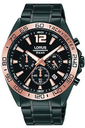 Lorus Mężczyzna Zegarki - Sport męski zegarek chronograf z nakładką z węglika tytanu i metalowym paskiem RT336JX9