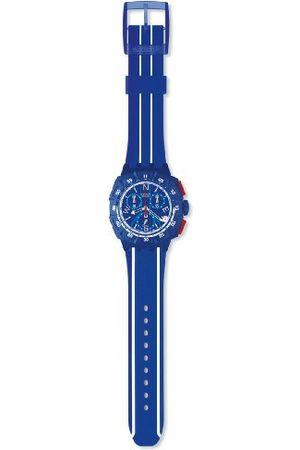 Swatch Mężczyzna Zegarki - Męski blok wiatru niebieska tarcza i pasek zegarek