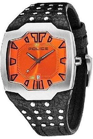 Police Mężczyzna Zegarki - Beast męski zegarek mechaniczny z pomarańczowym wyświetlaczem analogowym i czarnym skórzanym paskiem 13634JS/17