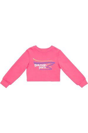 Balmain Kids Dziewczynka Bluzy - Logo cropped cotton sweatshirt