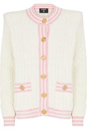 Balmain Cable-knit wool-blend cardigan