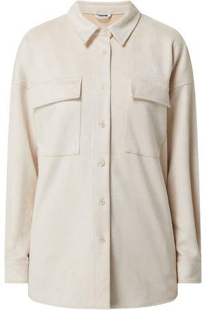 Noisy May Kobieta Bluzki - Bluzka koszulowa o kroju oversized z imitacji skóry welurowej model 'Sue'