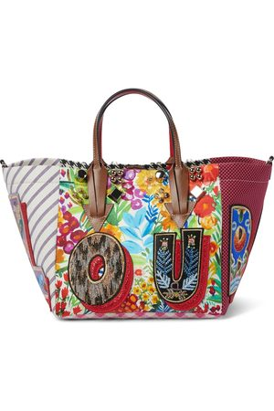 Christian Louboutin Caracaba Small cotton and silk-blend tote