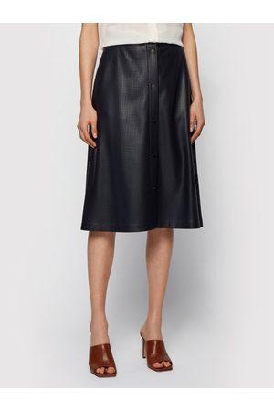 HUGO BOSS Kobieta Spódnice midi - Spódnica z imitacji skóry C_Vefy 50450606 Regular Fit