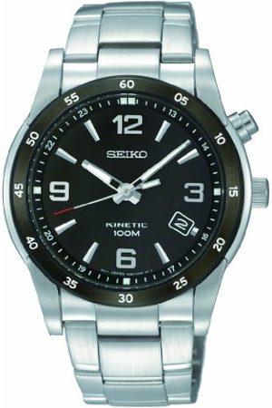 Seiko Męski zegarek kwarcowy z czarnym wyświetlaczem analogowym i srebrną bransoletką ze stali nierdzewnej SKA505P1