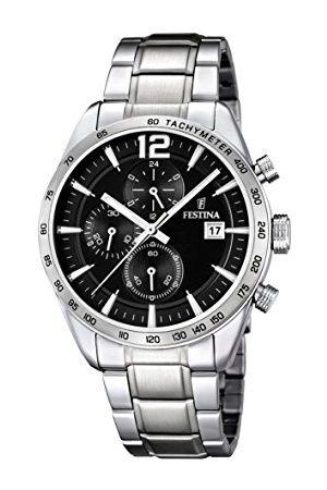 Festina Męski zegarek kwarcowy z czarną tarczą chronografu i srebrną bransoletą ze stali nierdzewnej F16759/4