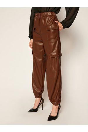 Msgm Kobieta Spodnie skórzane - Spodnie z imitacji skóry 2941MDP04 207652 Regular Fit