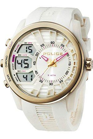 Police Męski zegarek cyfrowy z białą tarczą analogową - cyfrowy wyświetlacz i gumowy pasek 14249JPWG/04