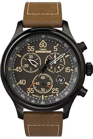 Timex Expedition 43 mm męski chronograf tarcza brązowa skórzana zegarek TW4B20800