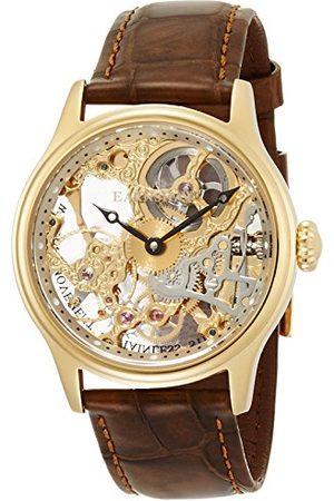 THOMAS EARNSHAW Mężczyzna Zegarki - Męski Bauer mechaniczny szkielet automatyczny zegarek ze złotym wyświetlaczem analogowym i brązowym skórzanym paskiem ES-8049-02