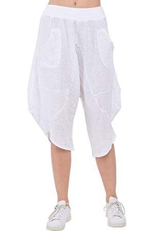 Bonamaison Damskie spodnie TRLSC101205 na co dzień, białe, M
