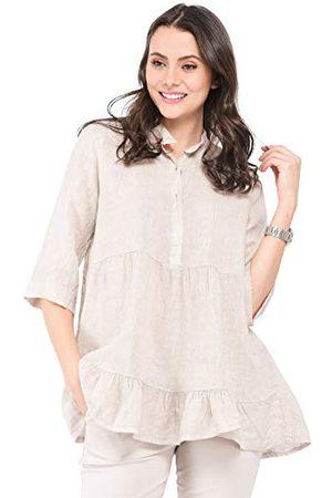 Bonamaison Damska luźna sukienka w kształcie średniej długości z półrękawami i kieszeniami, na co dzień