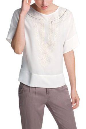 Esprit 034EE1F028 damska luźna bluzka tunika z nadrukiem koronkowym