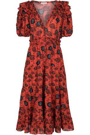 ULLA JOHNSON Irvette floral cotton-blend midi dress