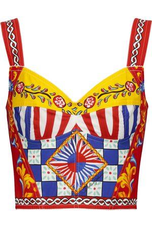 Dolce & Gabbana Kobieta Sukienki bez ramiączek - Printed stretch cotton-blend bustier