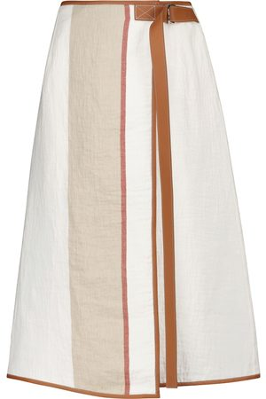 Loewe Leather-trimmed linen and cotton skirt
