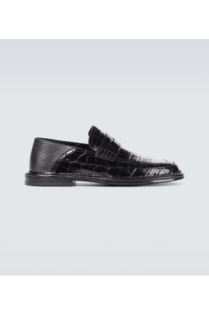 LOEWE Croc-effect leather loafers