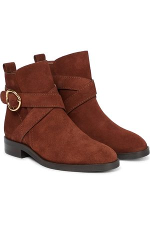 Chloé Lyna buckled suede ankle boots