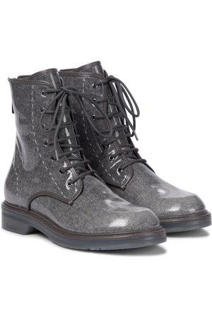 Max Mara Beth glazed wool combat boots
